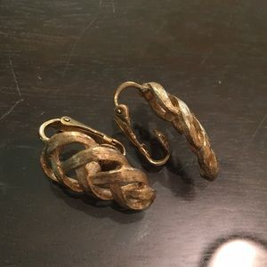 Avon braided gold satinwork clip earrings.
